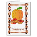 Deslumbramiento del otoño, calabazas y hojas de ot tarjeton