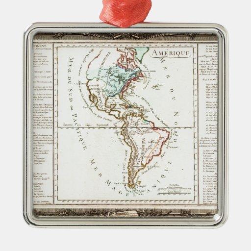 Desnos 1760 y De La Tour Map de Norteamérica Adorno Cuadrado Plateado