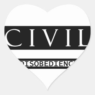 Desobediencia civil pegatina en forma de corazón