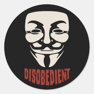 Desobediente Pegatina Redonda