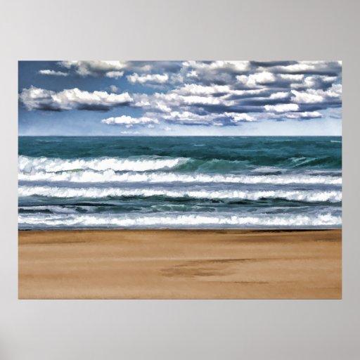 Desolate Beach Day Poster