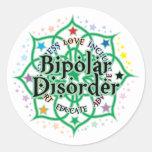 Desorden bipolar Lotus Pegatina Redonda