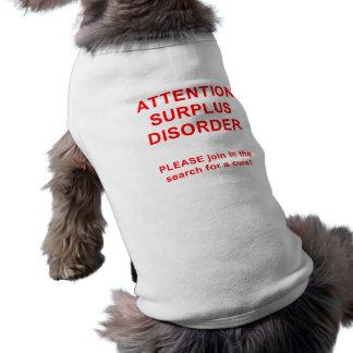 Desorden del exceso de la atención playera sin mangas para perro