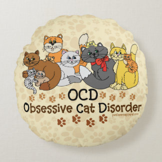 Desorden obsesivo del gato de OCD Cojín Redondo