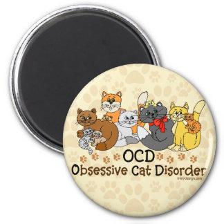 Desorden obsesivo del gato de OCD Imán Redondo 5 Cm