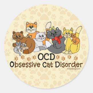 Desorden obsesivo del gato de OCD Pegatina Redonda
