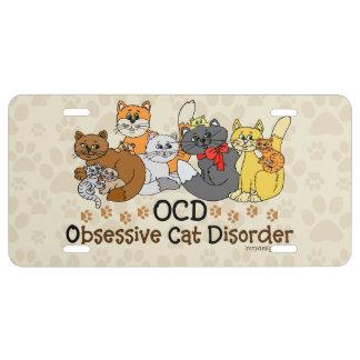 Desorden obsesivo del gato de OCD Placa De Matrícula
