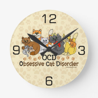 Desorden obsesivo del gato de OCD Reloj De Pared