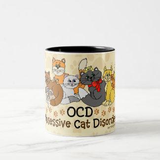 Desorden obsesivo del gato de OCD Taza De Café De Dos Colores