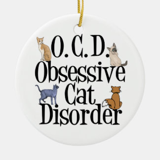 Desorden obsesivo del gato adorno redondo de cerámica