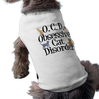 Desorden obsesivo del gato divertido playera sin mangas para perro