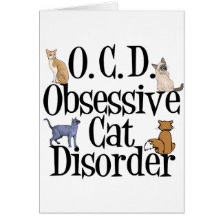 Desorden obsesivo del gato tarjeta de felicitación