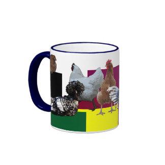 Desorden obsesivo del pollo: Collage Taza De Dos Colores