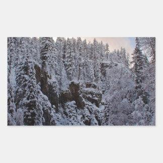 Desorientación del total de la escena del invierno rectangular pegatinas