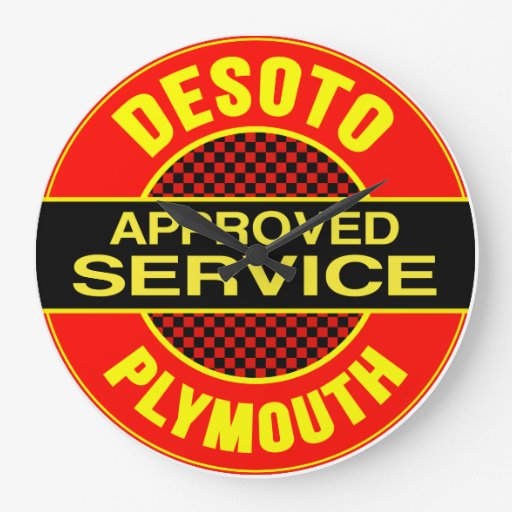 Desoto Plymouth Approved Service Sign Clock