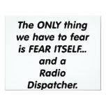 despachador de radio del miedo invitación 10,8 x 13,9 cm