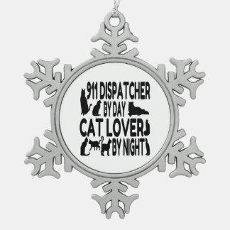 Despachador del amante 911 del gato adorno de peltre en forma de copo de nieve