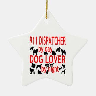 Despachador del amante 911 del perro adorno navideño de cerámica en forma de estrella