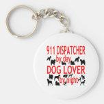 Despachador del amante 911 del perro llavero redondo tipo pin