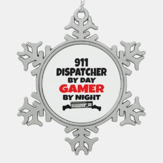 Despachador del videojugador 911 adorno de peltre en forma de copo de nieve