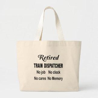 Despachador jubilado del tren ningún trabajo bolsa de tela grande