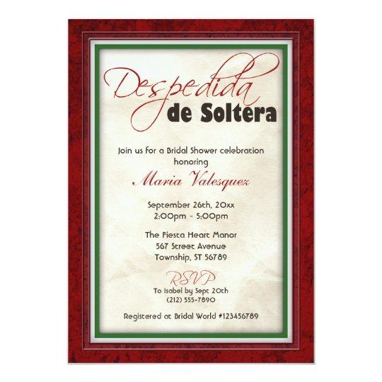 Despedida De Soltera Mexican Theme Bridal Shower Card