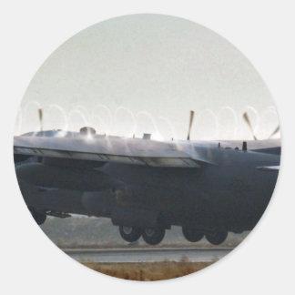 DESPEGUE DE AFGANISTÁN C-130 HÉRCULES PEGATINA REDONDA