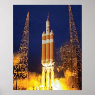 Despegue de la nave espacial de Orión Póster