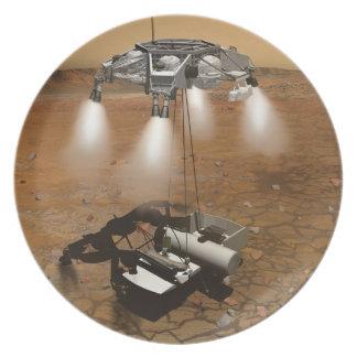 Despegue de la superficie marciana en arte platos
