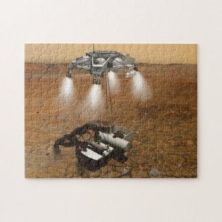 Despegue de la superficie marciana en arte rompecabeza con fotos
