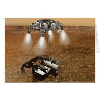 Despegue de la superficie marciana en arte tarjeta de felicitación