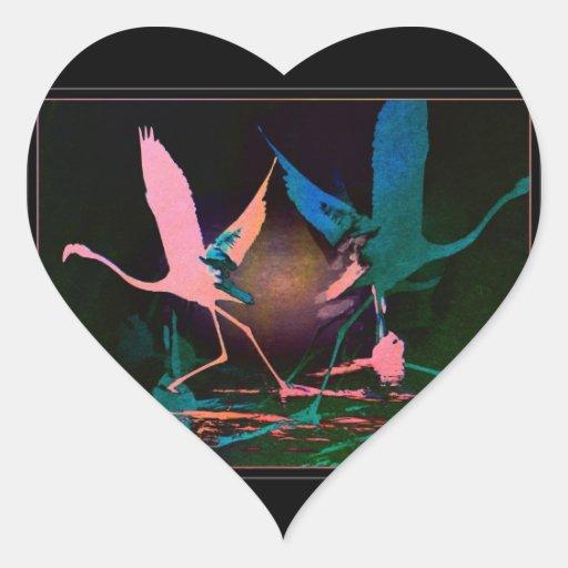 Despegue del flamenco calcomania corazon