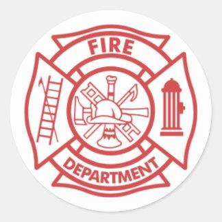 Despegue en tiempo mínimo del bombero pegatina redonda