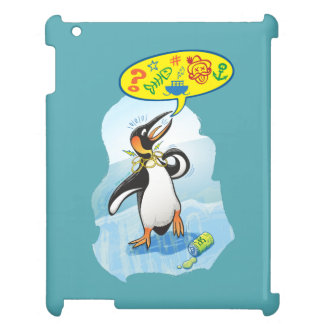 Desperate king penguin saying bad words iPad cases