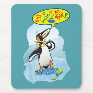 Desperate king penguin saying bad words mouse pad