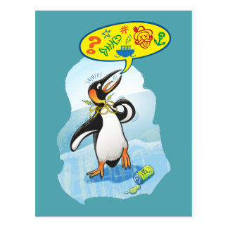 Desperate king penguin saying bad words postcard