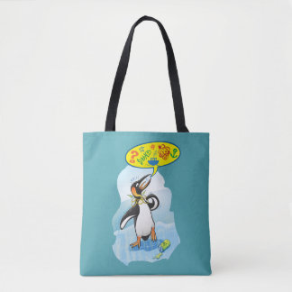 Desperate king penguin saying bad words tote bag