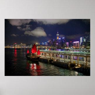 Desperdicios chinos rojos en Hong Kong en el Póster