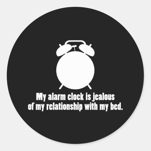 Despertador celoso pegatina redonda