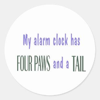 Despertador del mascota pegatina redonda