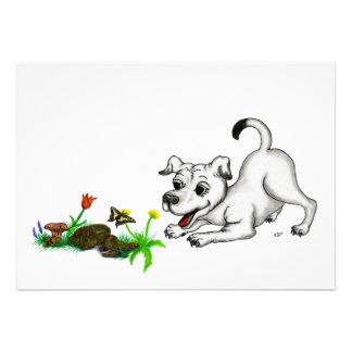 Despertar de primavera cachorro con mariposa comunicado personalizado
