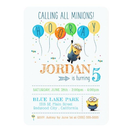 despicable me minion balloon birthday invitation zazzle com