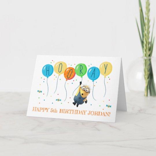 Despicable Me Minion Balloon Happy Birthday Card Zazzle