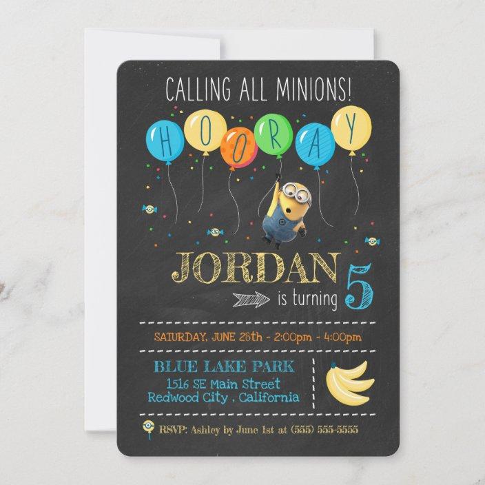 despicable me minion chalkboard birthday invitation zazzle com