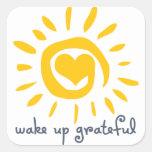 Despierte agradecido calcomanía cuadradas