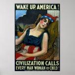 ¡Despierte América! Vintage WW1 del ~ Impresiones