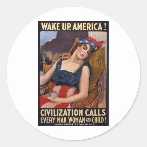 Despierte el poster de América Etiqueta Redonda