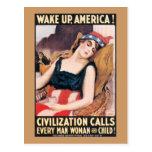 Despierte el poster de América WWI Postal