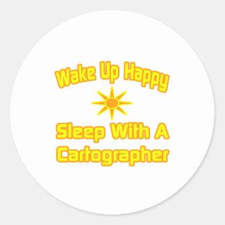 Despierte… el sueño feliz con un cartógrafo pegatina redonda