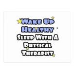 Despierte… el sueño sano con un terapeuta físico tarjeta postal